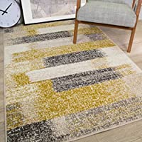 Milan Mottled Faded Distressed Ikat Stripe Design Ochre Yellow Mustard Grey Beige Cream Rug by The Rug House