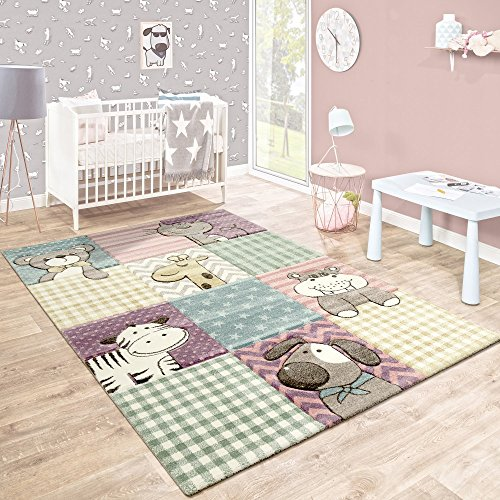 Kinderteppich Kinderzimmer Konturenschnitt Lustige Tiere Bunt Pastellfarben, Grösse:160x230 cm