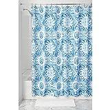InterDesign Spanish Tile Textil Duschvorhang | Pflegeleichte Duschabtrennung mit mediterranem Motiv | 183 cm x 183 cm Vorhang aus Stoff für Dusche und Badewanne | Polyester blau