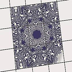 creatisto Badfliesen | Selbstklebende Fliesensticker Fliesen Tattoo Küchen-Folie Wand Deko | 20x25 cm Design Motiv Blue Mandala - 9 Stück
