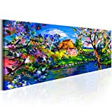 murando Bilder Landschaft 150x50 cm - Leinwandbild - 1 Teilig - Kunstdruck - Modern - Wandbilder XXL - Wanddekoration - Design - Wand Bild - Wie Gemalt Natur Blau Grün c-B-0273-b-a