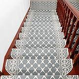 Liveinu Moderner Stil Selbstklebend Stufenmatten Treppen Teppich Halbrund Waschbar Starke Befestigung Anthrazit Treppen-Matten 24x75cm (15 Stück) Grau