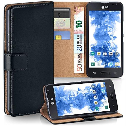 LG L90 Hülle Schwarz mit Karten-Fach [OneFlow 360° Book Klapp-Hülle] Handytasche Kunst-Leder Handyhülle für LG L90 Case Flip Cover Schutzhülle Tasche