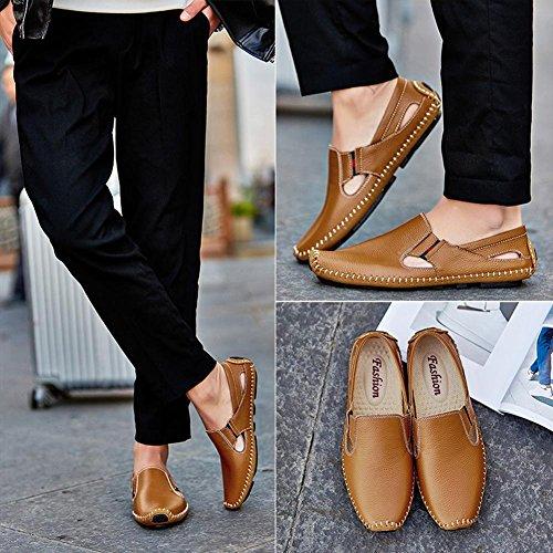 Herren Leder Sandalen Sommer Handgefertigte Sandstrand Schuhe Mode und bequem zu tragen Brown
