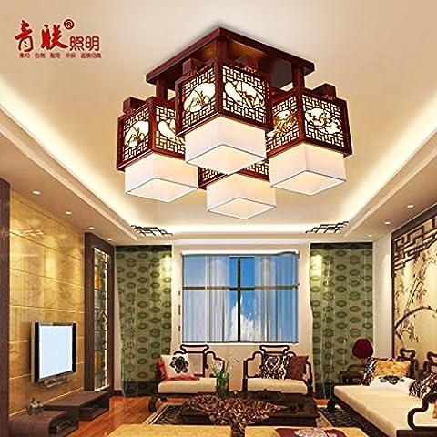 Kagy nueva luz la vitela chino de madera en el techo, la luz se encenderá creative salón dormitorio estudio de iluminación , 4 cabeza 41*54*54cm.