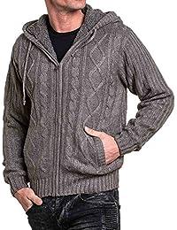 BLZ jeans - gilet fourré homme gris à capuche
