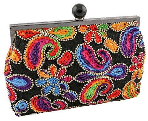 clutch de fiesta con bordados multicolor tamaño 26 x 15 x 3 cm