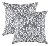 TreeWool Dekorativer Kissenbezug (40 x 40 cm, Graphit) Damask Design 100% Baumwolle (2er Pack)