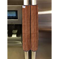Heart Home PVC Fridge/Refrigerator Handle Cover,Set of 2,Lining,Brown, Standard (HS_37_HEARTH020149)
