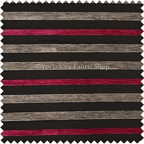 Yorkshire Fabric Shop NEU Designer Rosa Grau Muster Schwarz Strukturierte Streifen Chenille Vorhang Inneneinrichtung Möbelstoff, - Strukturierte Chenille