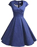 bbonlinedress 1950er Vintage Retro Cocktailkleid Rockabilly V-Ausschnitt Faltenrock Navy Small White Dot XL