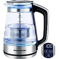 Bollitore Elettrico in vetro  Bosenkitchen 1 7L Impostazione della temperatura  40   x2103   100   x2103   Bollitore con filtro rimovibile  funzione di mantenimento del calore e protezione contro il  BPA Free 2200w