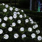 TurnRaise Solar Lichterkette, 6 Meter 30 LED 2 Modus Lichterketten Kaltweiß für Garten Draussen Weihnachten