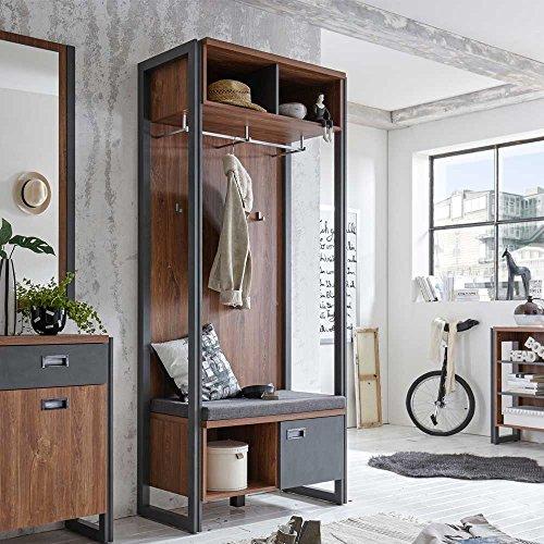 Pharao24 Garderobe mit Sitzbank Eiche dunkel Schiefer Grau