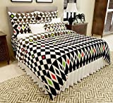 Home Candy 144 TC Squares Cotton Double Bedsheet with 2 Pillow Covers - Multicolor