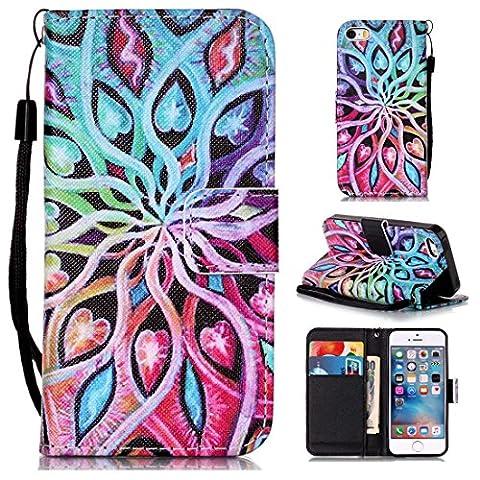 Chreey Coque Apple Iphone 5 / 5S 5SE (4 pouces),PU Cuir Portefeuille Etui Housse Case Cover ,carte de crédit Fentes pour ,idéal pour protéger votre téléphone