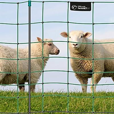 Premium Elektronetz 90cm VOSS.farming farmNET® 50m Schafzaun Ziegennetz 14 Pfähle 1 Spitze grün