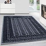 Orientteppich Wohnzimmer Klassische Optik Afghanischer Muster Schwarz Grau Weiss, Maße:160 cm x 230 cm
