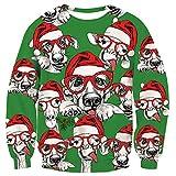 Loveternal Lustiger Weihnachtspullover Christmas Sweater 3D Weihnachtstiere Druck Langarm t Shirt top fur Herren Damen XL