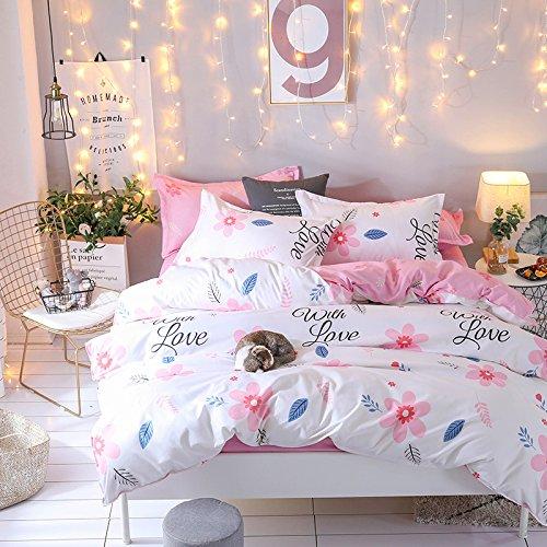 KFZ Bett Set (Zwei Full Queen King Size) [4: Bettbezug, Bettlaken, 2Kissenbezüge] keine Tröster KY-Twinkle Star Twinkle Star Starry Sky Print Blumen für Kinder, Erwachsene, Microfaser, Love Nature, Pink, Twin 59