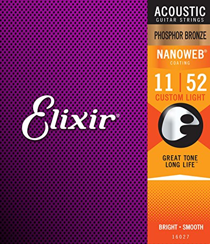 Elixir 16027 Acoustic Guitar Saiten 6 Acoustic Phosphor Bronze Nanoweb Coating Custom Light