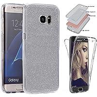 Funda protectora SYCODE para Samsung Galaxy S7 Edge. Cuerpo completo de purpurina en la parte trasera y en la parte delantera de color transparente. De silicona de poliuretano termoplástico. Protector de pantalla de goma ultradelgado a prueba de golpes