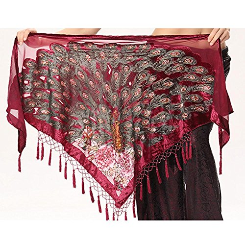 Byjia Dance accessories Frau Quaste Dreieckig Hüfttuch Trainieren Taille Kette Handgefertigt Indien Pfau Bauch Tanzen Tribal Schals Wickeln Rock Gürtel Red One Size