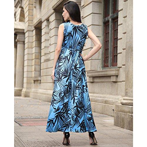 Le donne Vintage stampa floreale senza maniche Short Round collare maxi vestito lungo del partito Blu