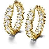 Damen Ohrringen 18 karat vergoldet Für Frauen Creolen gold kleine Ohrringe Grösse 21 mm hängend mit funkelnden Swarovski Zirk