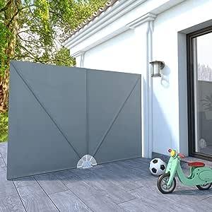 Tidyard Garten-Sonnendach UV-Schutz Zusammenklappbar 240x160 cm Kappbar Balkonfächer Seitenmarkise Sichtschutz Balkon Windschutz Balkonsichtschutz