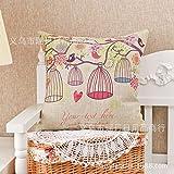 Teebxtile Kissenbezüge werfen Kissen Kofferschalen für Home Sofa Couch für zu Hause die nordischen Stil Künste kreativ niedlichen Tiere Eule Baumwolle Leinenkissen Lendenkissen Sofa Kissen Auto gegen die Kissen, Blumen, Bäume im Vogelkäfig, 45 * 45