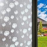 Vinilo Ventana Vinilos Decorativos para ventanas Estática Ventana Película para Puertas de Cristal Vinilo de Privacidad Película De Ventana No adhesiva anti UV (Diente de león)