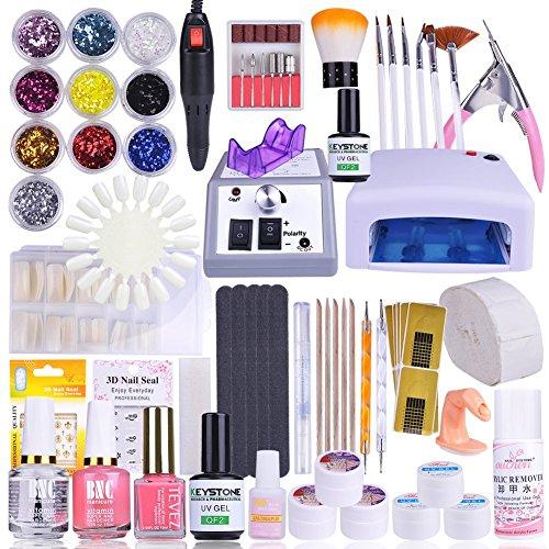#Vanyda UV Gel Nagelstudio Starter Set Weiß-Nagelset mit Nailart, UV Lampe und UV Gel ideales Starterset#