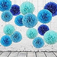 15 Piezas Pompones de Papel de Seda Bola de Flor Papel Azul y Azul Oscuro Pom Poms Bola Decoraciones de Fiesta Boda Bebé Ducha Aniversario San Valentines Cumpleaños Santa Semana Celebración