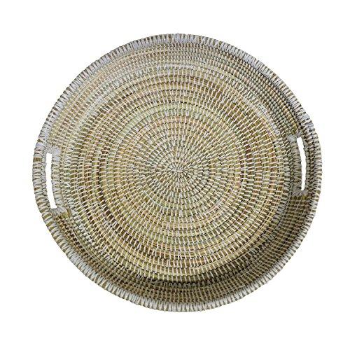 EA Déco Naturel & Design ABFBLA Plateau Tchèkè Plastique, Blanc, 40 x 40 x 7 cm