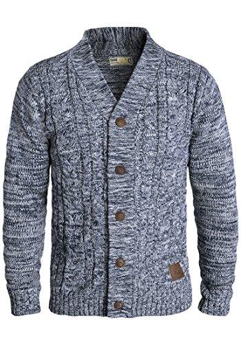 SOLID Philotus Herren Strickjacke Cardigan Grobstrick mit V-Ausschnitt samt Knopfleiste aus 100% Baumwolle Meliert, Größe:M, Farbe:Insignia Blue (1991)