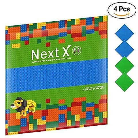 NextX 4 Stück Grundplatte für Classic Bausteine Plastik Bauplatte 25 x 25 cm - Grün+Blau
