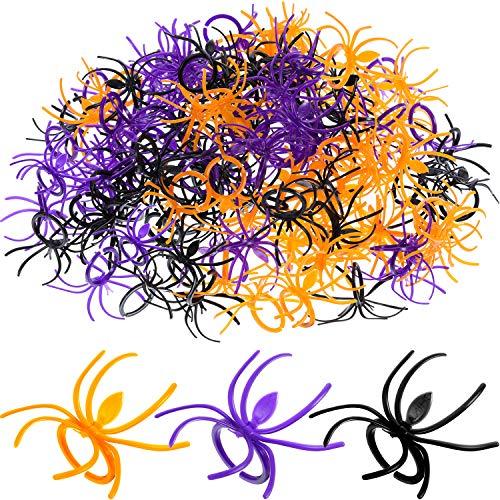 Boao 120 Piezas de araña Anillos plástico Cupcake Topper Halloween Party Favors