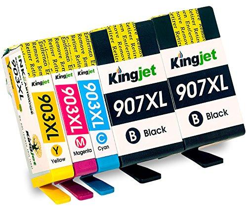 Kingjet Remanufacturé Cartouches d'encre HP 907XL 903XL Compatible pour HP Officejet Pro 6960 6970 ( 907XL Noir peut Imprimer plus de Pages que 903XL Noir )