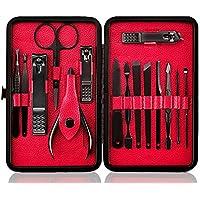Profesional Cortaúñas Acero Inoxidable Grooming Kit - Set de 15 Piezas para Manicura y Pedicura Limpiador Cutícula con Bonita Caja (Rojo)