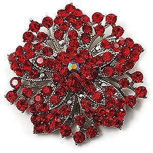 Klaritta Anstecknadel/Brosche Strasssteine Rot florales Design Vintage-Stil BR94