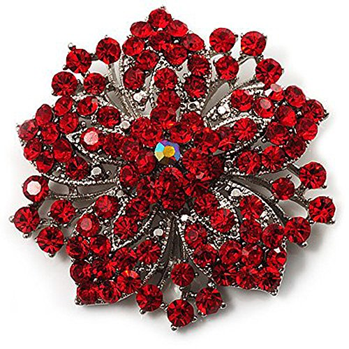 Broche de flor con brillantes, color rojo