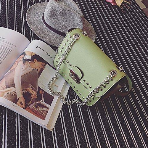 Weiblicher lippenstiftabzug kleiner quadratischer paketart und Weiseschulterbeutel Kurierbeutel Grün