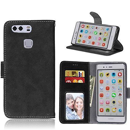 Coque Huawei P8 Lite, Case Huawei P8 Lite, Housse Huawei P8 Lite, Meet de pour Huawei P8 Lite (5,0 Pouces) Housse de Téléphone en Cuir, coque Portefeuille Case Couvrir PU Cuir Shell Case Cover smart f noir