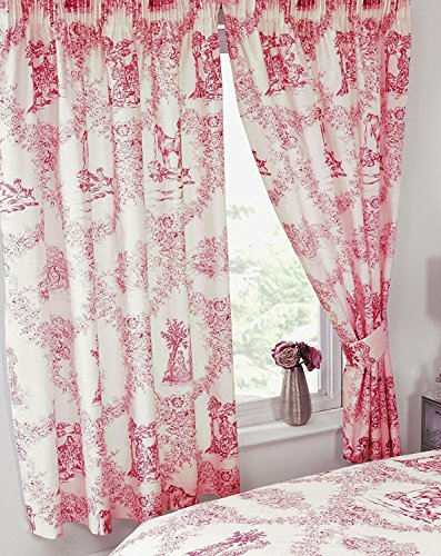 167,6x 182,9cm Toile de Jouy rot, Vorhänge + passende Raffhalter, by My Home, traditionelles Blumenmuster Damast Country Design, Koralle Pastell-Rot (Damast-volant Rote)