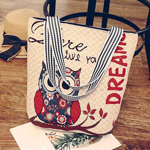 Tasche, Voberry Mode Frauen Canvas Eule Muster Handtasche Schulter Umhängetasche Taschen Tasche E