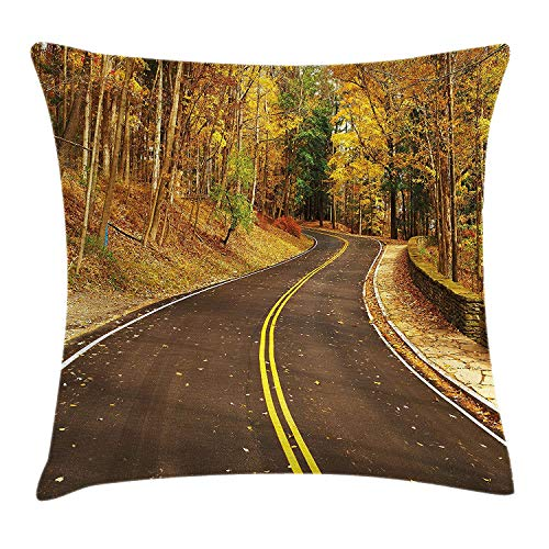 Fall Throw Pillow Cushion Cover, Autumn Scene with Curvy Road in The Forest at Letchworth State Park New York City USA, Decorative Square Accent Pillow Case, 18 X 18 Inches, Multicolor New York Satin Bow