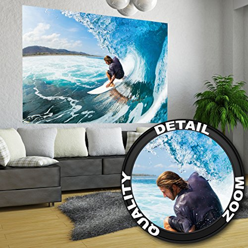Poster Surfer Mural Decoration Sport Sea Nature Beach Wave Surfing Ocean Surfboard Surf-Board Water Sports | Wallposter Photoposter wall mural wall decor by GREAT ART (55 x 39.4 Inch/ 140 x 100cm)