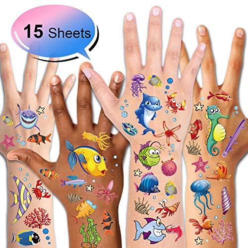Konsait Fische Tattoo Set, Temporäre Tattoos Kinder Tattoos für Mädchen Jungen Kindergeburtstag Mitgebsel Über 180 Tattoos Verschiedene Motive Kinder Spielen