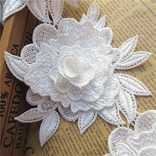 Qiuda 0,9 m 3d Fleur Bordure en dentelle ruban 12 cm de largeur brodée Applique coudre Craft Chapeau Bandeau de cheval d'ameublement pour mariage Robe de demoiselle d'honneur de décoration